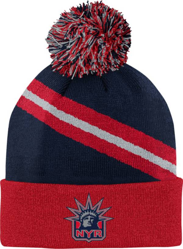 NHL Youth New York Rangers Special Edition Diagonal Stripe Blue Pom Knit Beanie product image