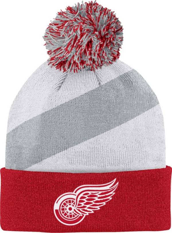 NHL Youth Detroit Red Wings Special Edition Diagonal Stripe Red Pom Knit Beanie product image