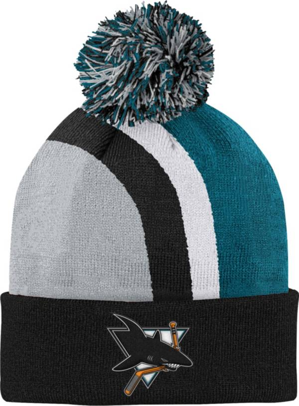 NHL Youth San Jose Sharks Special Edition Diagonal Stripe Green Pom Knit Beanie product image
