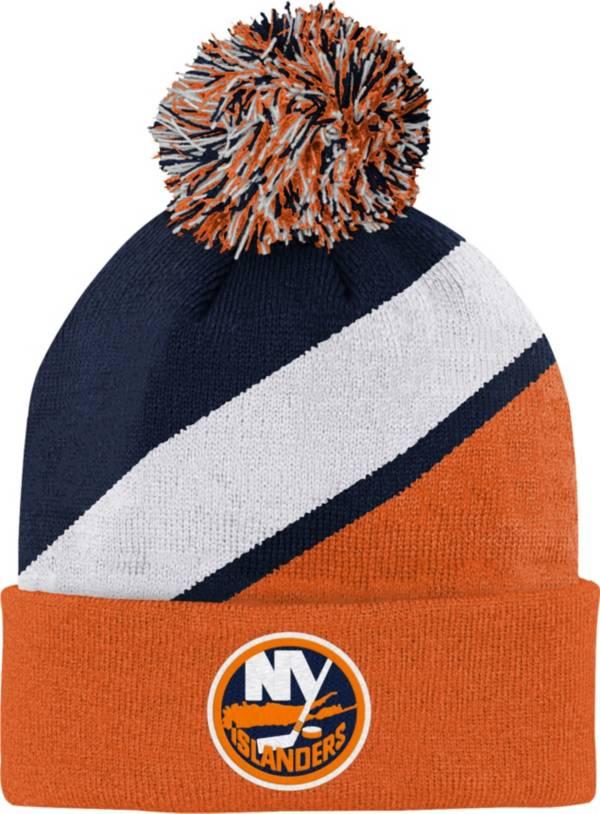 NHL Youth New York Islanders Special Edition Diagonal Stripe Navy Pom Knit Beanie product image