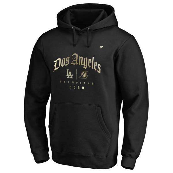 "MLB Men's Los Angeles Dodgers x Los Angeles Lakers 2020 City Champs ""Dos Angeles"" Black Pullover Hoodie product image"