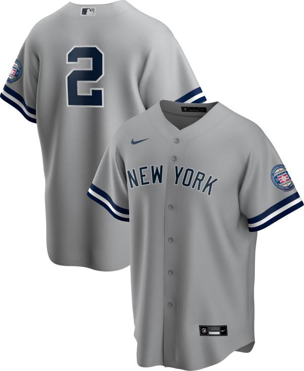 Nike Men's Replica New York Yankees Derek Jeter #2 2020 Hall of Fame Cool Base Gray Jersey product image