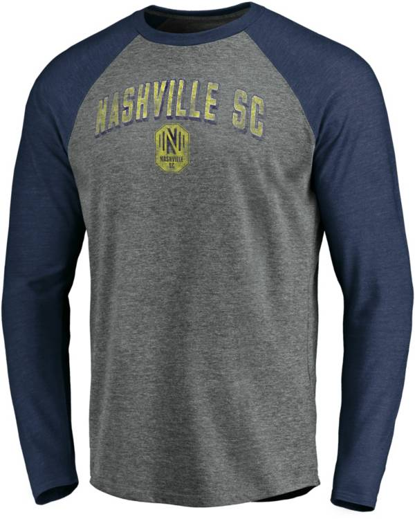 MLS Men's Nashville SC Block Raglan Heather Grey Long Sleeve Shirt product image