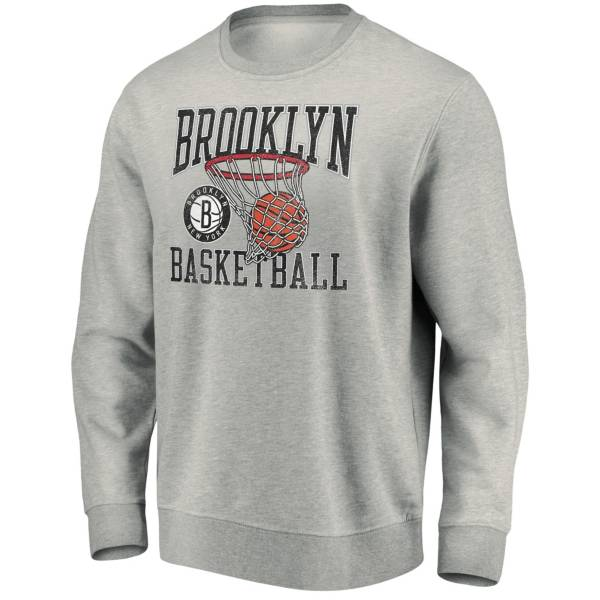 Fanatics Men's Brooklyn Nets Gray Bucket Crewneck Hoodie product image