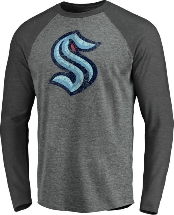 NHL Men's Seattle Kraken Distressed-Print Grey Logo Long Sleeve T-Shirt product image