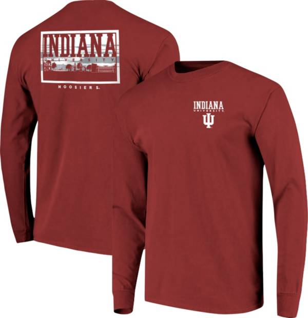 Image One Men's Indiana Hoosiers Crimson Campus Sky Long Sleeve T-Shirt product image