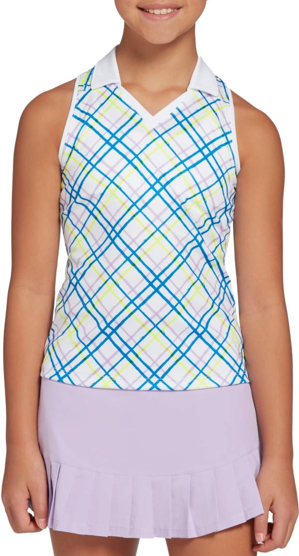 DSG Girls' Plaid Print Sleeveless Golf Polo product image