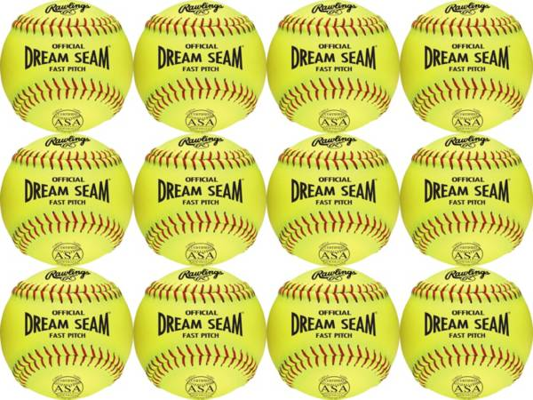 Rawlings 11'' Dream Seam ASA/NFHS High Density Leather Softballs - 12 Pack product image