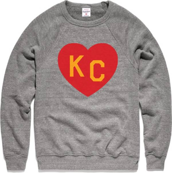 Charlie Hustle Men's KC Heart Vintage Grey Crew Sweatshirt product image
