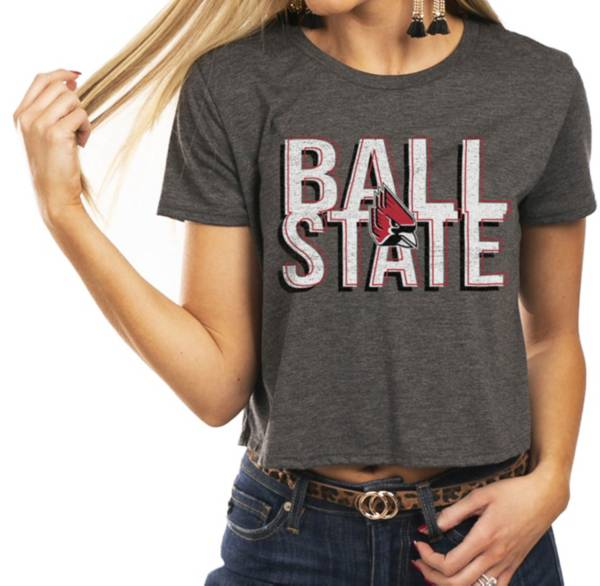 Gameday Couture Women's Ball State Cardinals Grey Home Team Advantage Vintage Vibe Crop Top product image