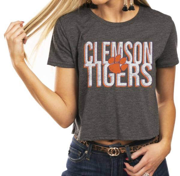 Gameday Couture Women's Clemson Tigers Grey Home Team Advantage Vintage Vibe Crop Top product image