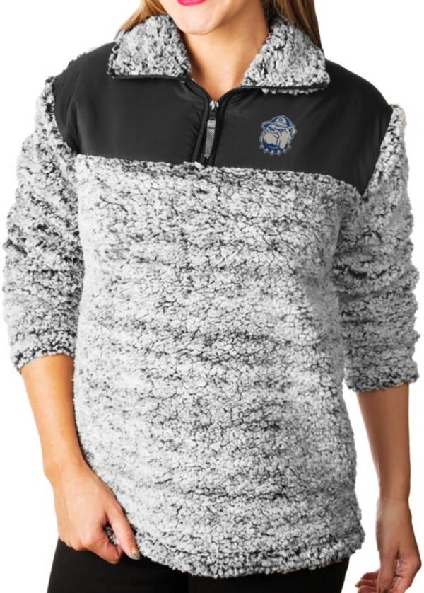 Gameday Couture Women's Georgetown Hoyas Grey Winter Essential Sherpa Quarter-Zip Fleece product image