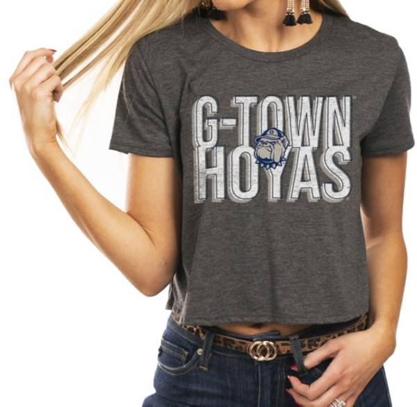 Gameday Couture Women's Georgetown Hoyas Grey Home Team Advantage Vintage Vibe Crop Top product image