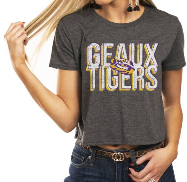 Gameday Couture Women's LSU Tigers Grey Home Team Advantage Vintage Vibe Crop Top product image