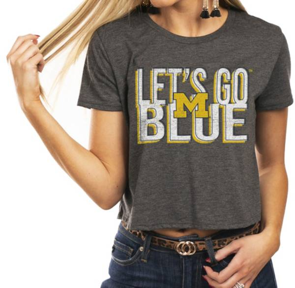Gameday Couture Women's Michigan Wolverines Grey Home Team Advantage Vintage Vibe Crop Top product image