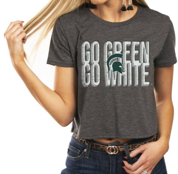 Gameday Couture Women's Michigan State Spartans Grey Home Team Advantage Vintage Vibe Crop Top product image