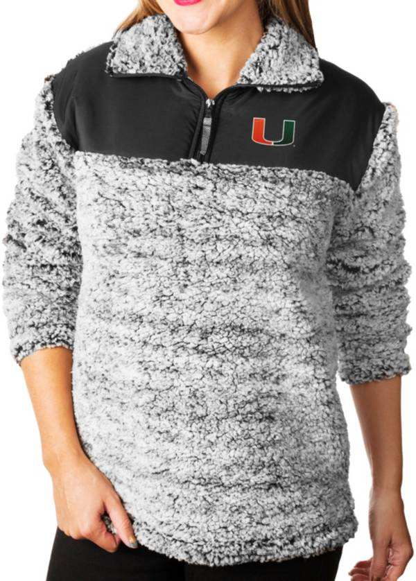 Gameday Couture Women's Miami Hurricanes Grey Winter Essential Sherpa Quarter-Zip Fleece product image