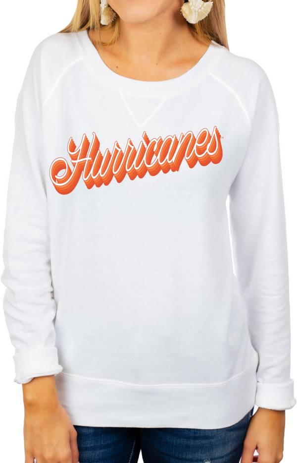 Gameday Couture Women's Miami Hurricanes Casually Cute French Terry Pullover White Sweatshirt product image