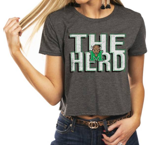 Gameday Couture Women's Marshall Thundering Herd Grey Home Team Advantage Vintage Vibe Crop Top product image