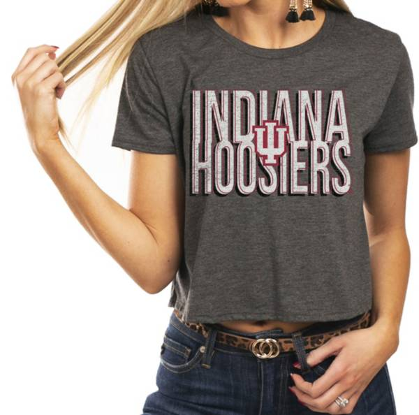 Gameday Couture Women's Indiana Hoosiers Grey Home Team Advantage Vintage Vibe Crop Top product image