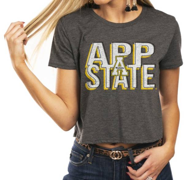 Gameday Couture Women's Appalachian State Mountaineers Grey Home Team Advantage Vintage Vibe Crop Top product image