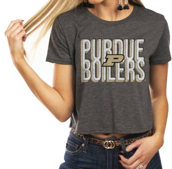 Gameday Couture Women's Purdue Boilermakers Grey Home Team Advantage Vintage Vibe Crop Top product image