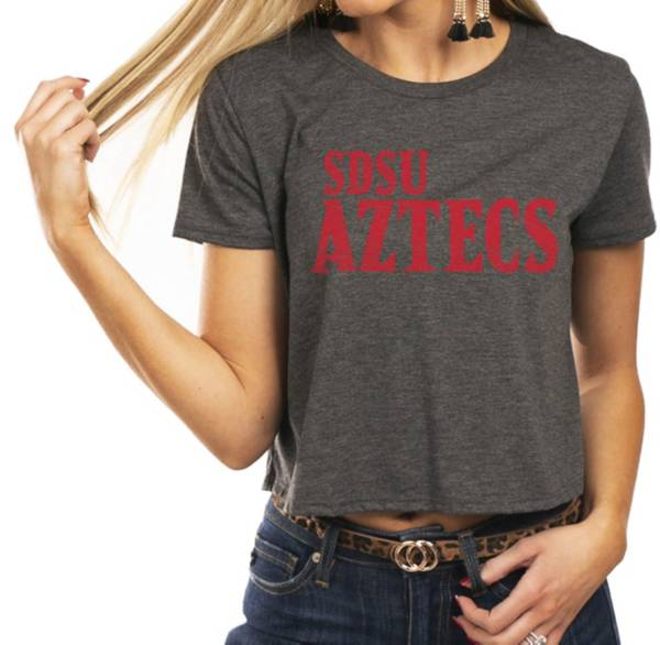 Gameday Couture Women's San Diego State Aztecs Grey Home Team Advantage Vintage Vibe Crop Top product image
