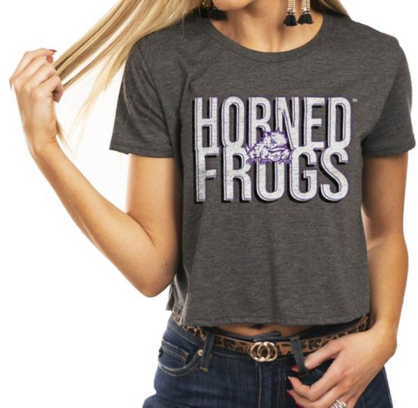 Gameday Couture Women's TCU Horned Frogs Grey Home Team Advantage Vintage Vibe Crop Top product image