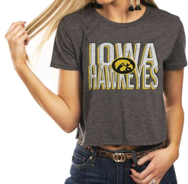 Gameday Couture Women's Iowa Hawkeyes Grey Home Team Advantage Vintage Vibe Crop Top product image