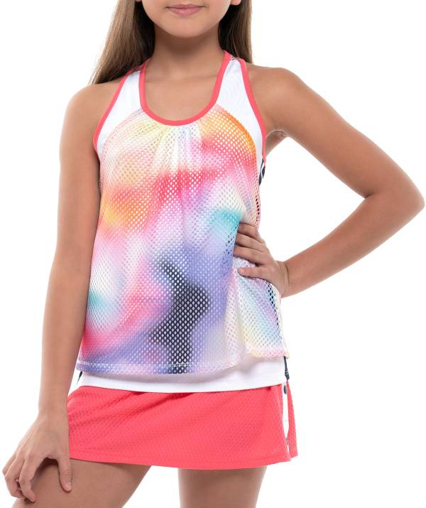 Lucky In Love Girls' Tropic Ombre Net Crop Tennis Tank Top product image