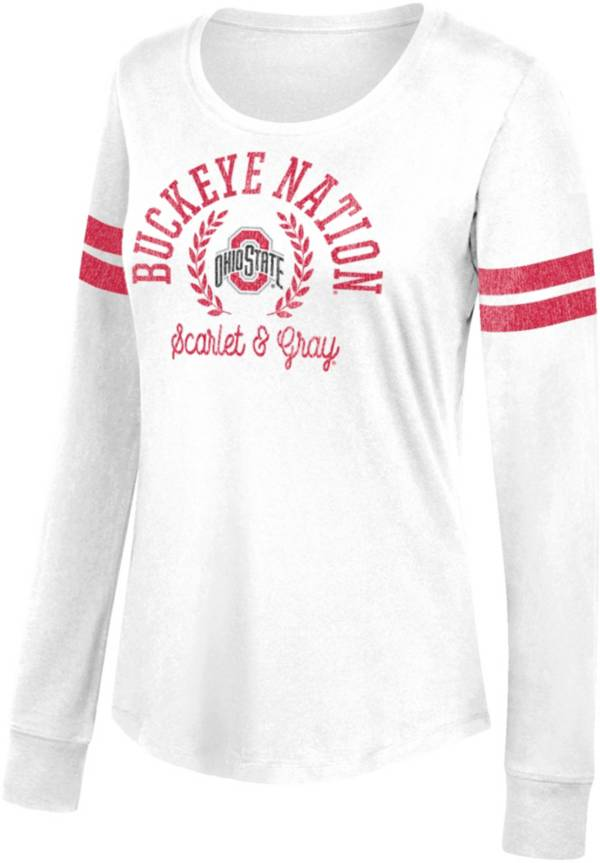 Scarlet & Gray Women's Ohio State Buckeyes Distressed Favorite Long Sleeve White T-Shirt product image