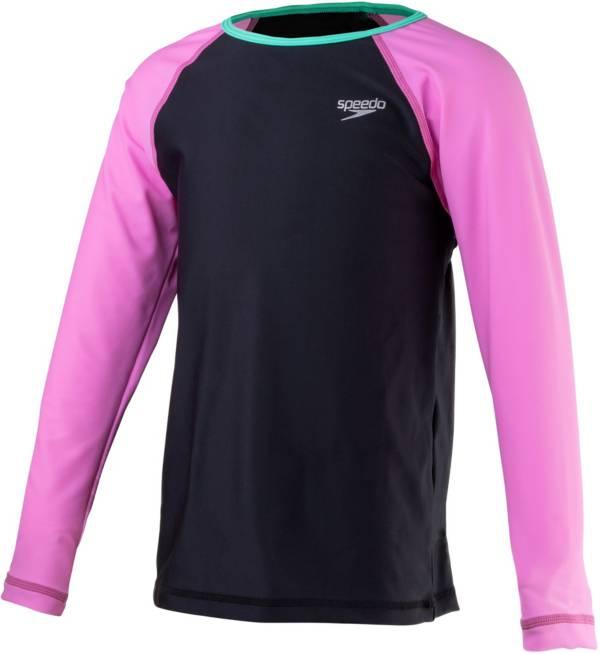 Speedo Girls' Long Sleeve Color Block Rash Guard product image