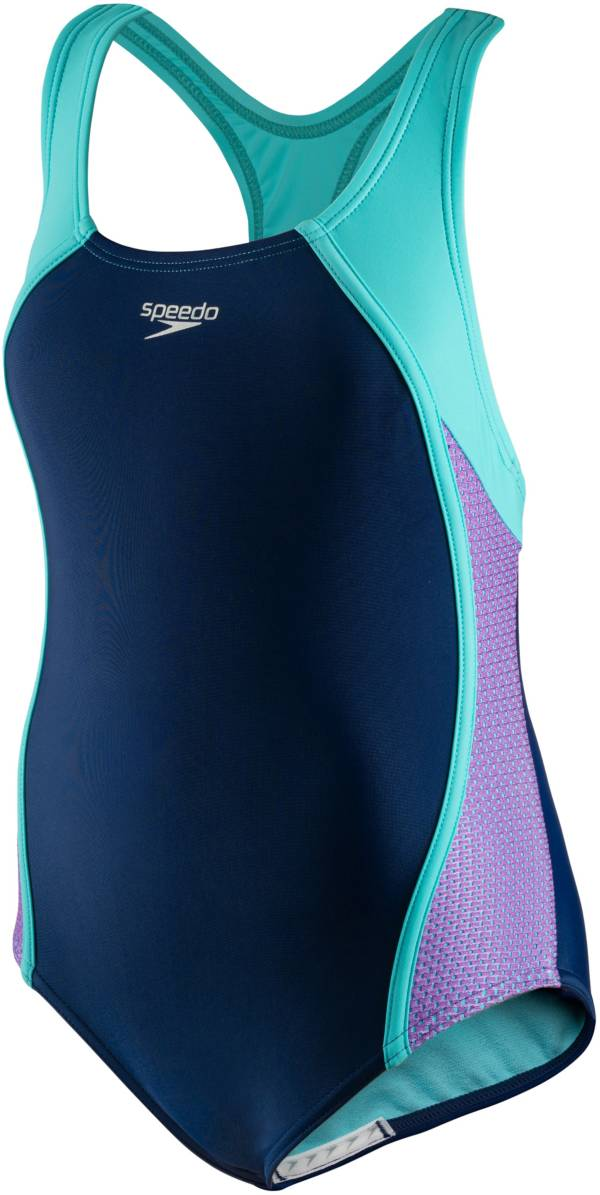 Speedo Girls' Mesh Splice One Piece Swimsuit product image