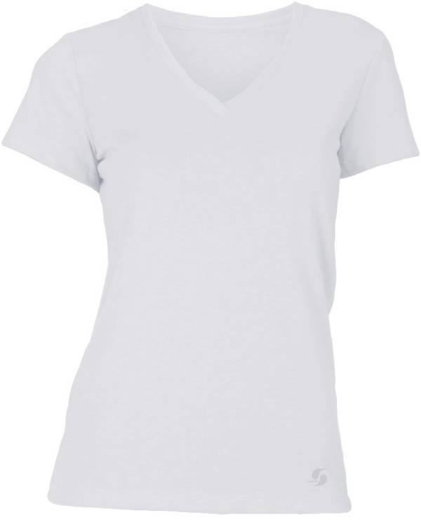 Soffe Juniors' No Sweat V-Neck Cropped T-Shirt product image