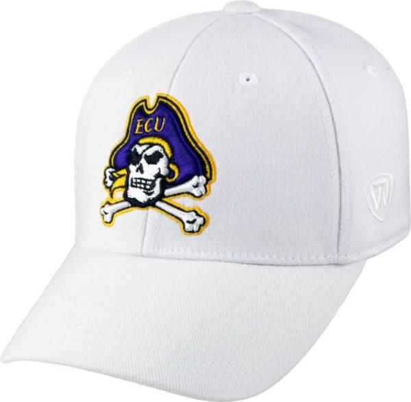 Top of the World Men's East Carolina Pirates Premium 1Fit Flex White Hat product image