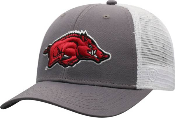 Top of the World Men's Arkansas Razorbacks Grey/White BB Two-Tone Adjustable Hat product image