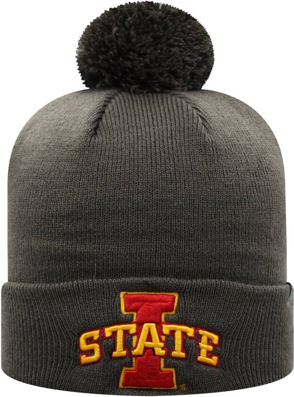 Top of the World Men's Iowa State Cyclones Grey Pom Knit Beanie product image