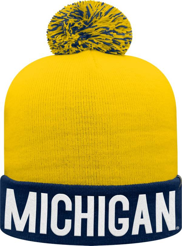Top of the World Youth Michigan Wolverines Blue/Maize Void Pom Knit Beanie product image