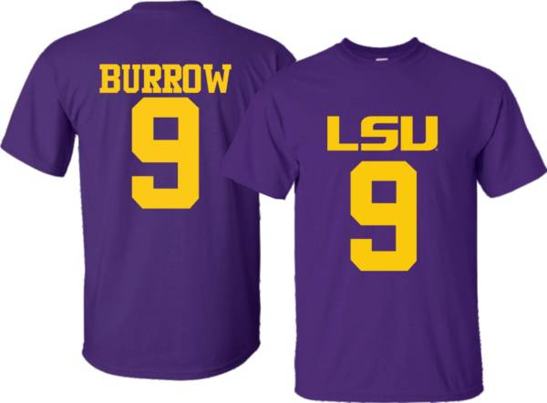 Bayou Apparel Men's LSU Tigers Joe Burrow #9 Purple T-Shirt product image