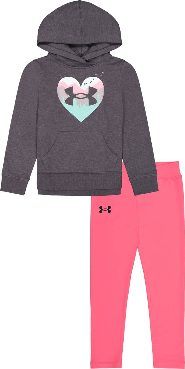 Under Armour Little Girls' Mountain Heart Hoodie and Leggings Set product image