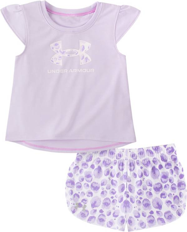 Under Armour Little Girls' Fierce Ruffle Trim T-Shirt and Shorts Set product image