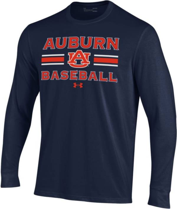 Under Armour Men's Auburn Tigers Blue Performance Cotton Long Sleeve Baseball T-Shirt product image