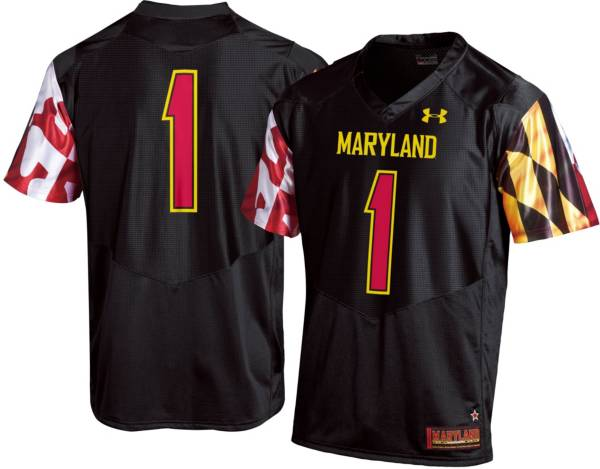 Under Armour Men's Maryland Terrapins #1 Replica Football Black Jersey product image