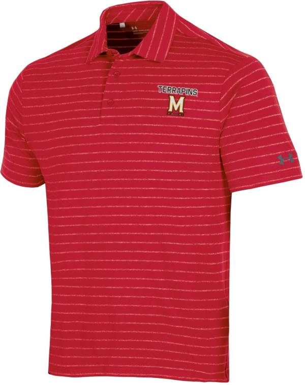 Under Armour Men's Maryland Terrapins Red Playoff Tour Striped Performance Polo product image