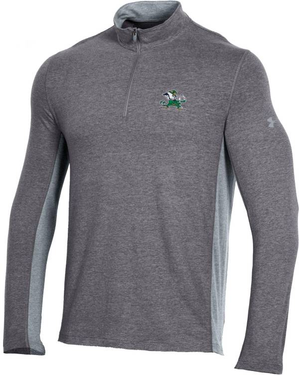 Under Armour Men's Notre Dame Fighting Irish Grey Charged Cotton Quarter-Zip Shirt product image