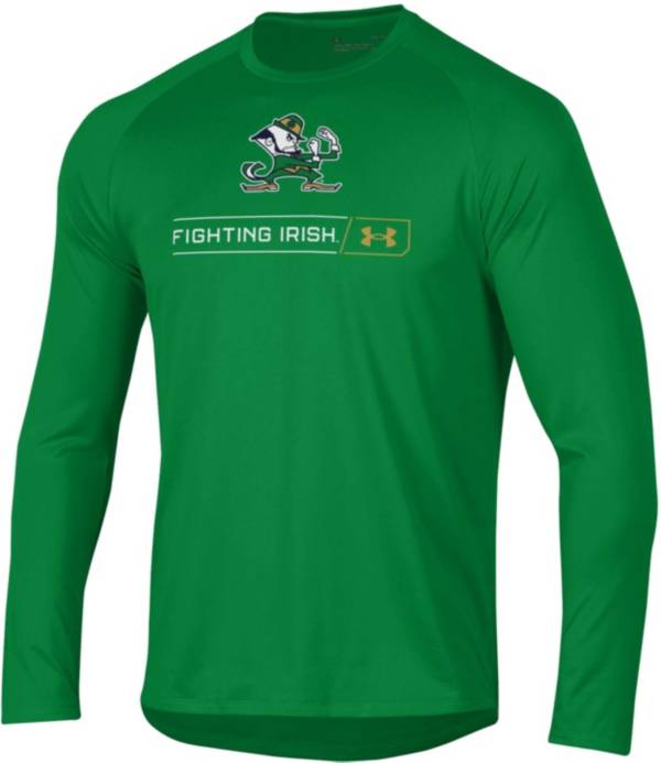 Under Armour Men's Notre Dame Fighting Irish Green Long Sleeve Tech Performance T-Shirt product image