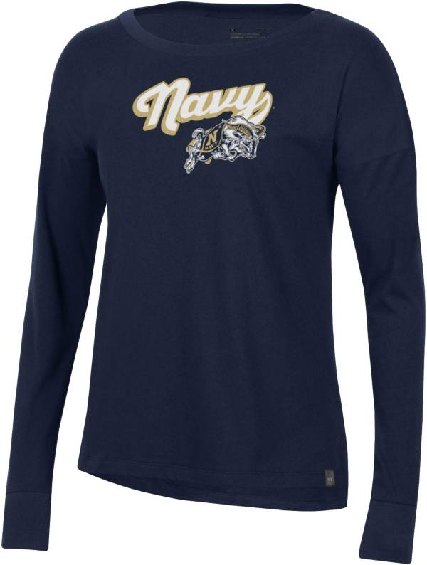 Under Armour Women's Navy Midshipmen Navy Performance Cotton Long Sleeve T-Shirt product image