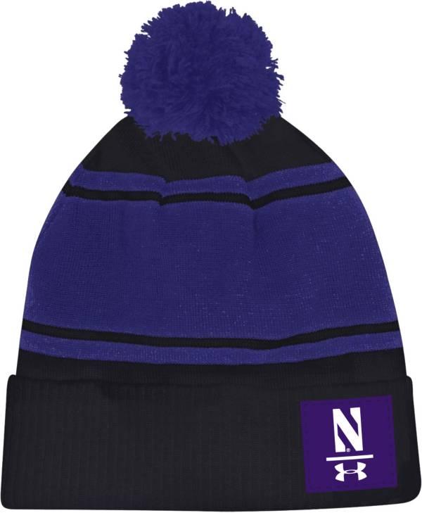 Under Armour Men's Northwestern Wildcats Black Pom Knit Beanie product image