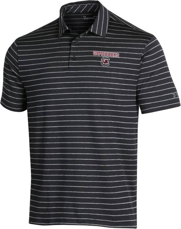Under Armour Men's South Carolina Gamecocks Playoff Tour Striped Performance Black Polo product image