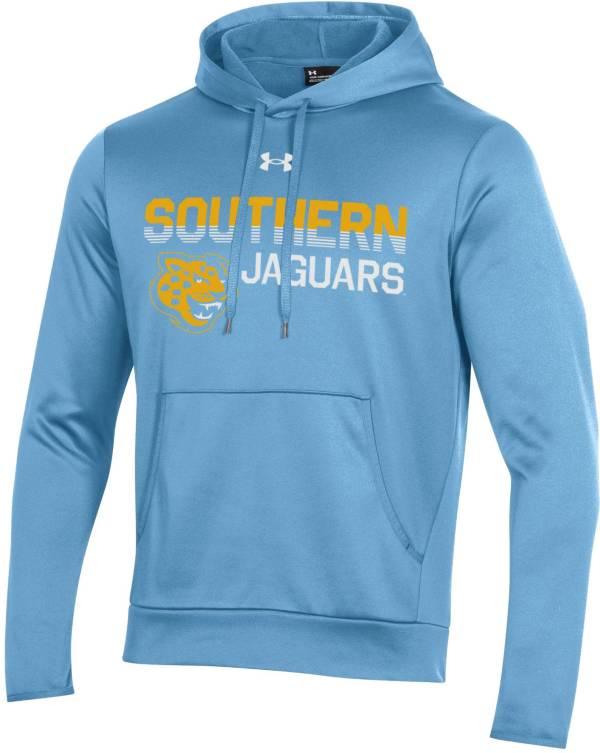 Under Armour Men's Southern University Jaguars Columbia Blue Armour Fleece Performance Hoodie product image